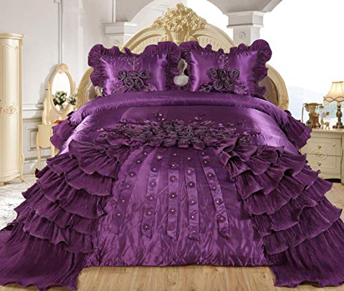 Empire Home Ahlam 3 Piece Real 3D Comforter Set Bedspread Flower Ruffle Oversized Queen/King (Purple, Queen)