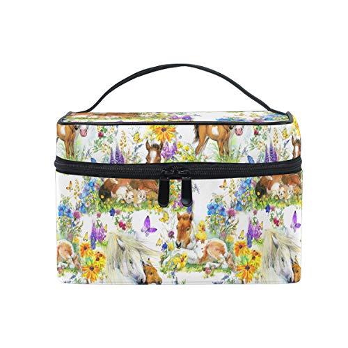 HaJie Make-up-Tasche mit großer Kapazität, Organizer, Wasserfarben, Pferd, Tier, Blume, Reisen, tragbar, Kosmetiktasche, Kulturbeutel, Aufbewahrungstasche für Damen und Mädchen