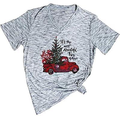 Women's Letters Short Sleeve V-Neck Christmas Shirt Truck Tree Graphic Tees Tops