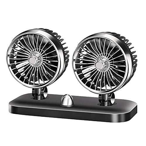 Baceyong Ventilador de viaje portátil para coche 24 V coche furgoneta casa 2 velocidad 360 ° aire ventilador verano eléctrico refrigeración con clip