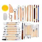 Arts Crafts Clay Sculpting Tools Pottery Carving Tool Set Pottery &amp Ceramics Wooden Handle Modeling Clay...