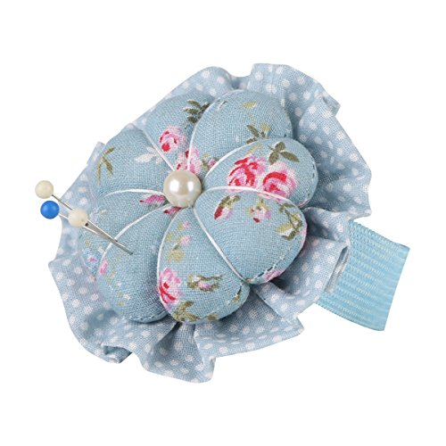 Neoviva Fabric Coated Flower Shaped Pin Cushion with Wrist Band for Short Pins and Needles, Floral Blue Ocean
