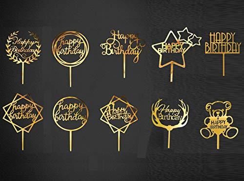 KAHEIGN 10Pcs Happy Birthday Cake Topper, Acryl Geburtstag Gold Cake Topper Tortendeko für Geburtstagskuchen Tortenstecker Glitter Topper Kuchendekoration