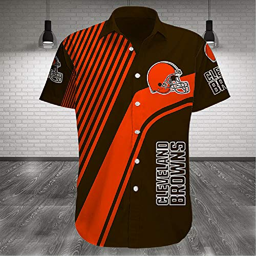 OUTDOOR Sommer-Polo-Hemd Hawaiihemd - NFL Cleveland Browns Rugby-Fan-T-Shirt Für Männer Strand-Kurzschluss-Hülsen-Hemd Beiläufige Oberseiten-Unterhemd - Teen Geschenke A-3XL