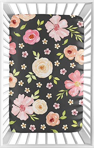 Sweet Jojo Designs Black and Blush Pink Shabby Chic Baby Girl Fitted Mini Portable Crib Sheet for Watercolor Floral Collection - Rose Flower - for Mini Crib or Pack and Play ONLY