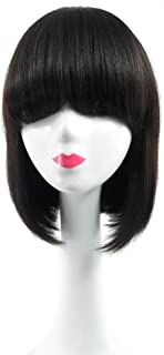 RemeeHi Beauty Straight with Blunt Bangs Have In Stock None Lace Full Head Wig On Mono with Hand Made Head Spin for Women 1B# Natural Black