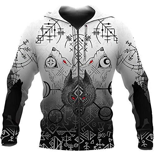 WDBAYXH Unisex Viking Fenrir Wolf Vegvisir Runes Realistic 3D Print Full Zip Pullover Hoodie,Novelty Vintage Punk Long Sleeve Pockets Lightweight Sweatshirt,Nordic Celtic Pagan Jacket,Zip,5XL