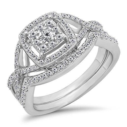 Dazzlingrock Collection 0.55 Carat (ctw) 10K White Diamond Ladies Bridal Halo Engagement Ring Set 1/2 CT, White Gold, Size 8.5