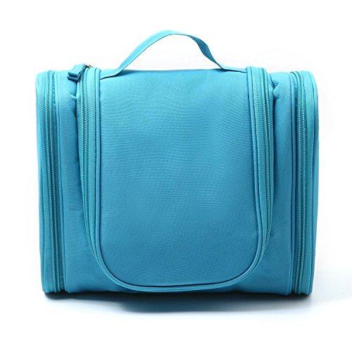 wanruisi portable Kit de maquillage de voyage étanche Voyage Trousse de Toilette Wash Maquillage, grand à suspendre pour femmes et hommes, bleu