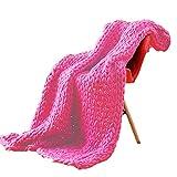Elero Chunky Knit Blanket Merino Wool Hand Made Boho Soft and Cozy Bulky Throw Blanket for Bedroom Sofa Home Decoration Fuchsia 40x60