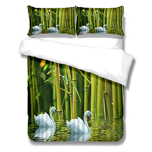 3-Piece Duvet Cover With Colorful Landscape Pictures Quilt Cover With Zipper And 2 Pillowcases Suitable For Single Bed And Double Bed Bedding