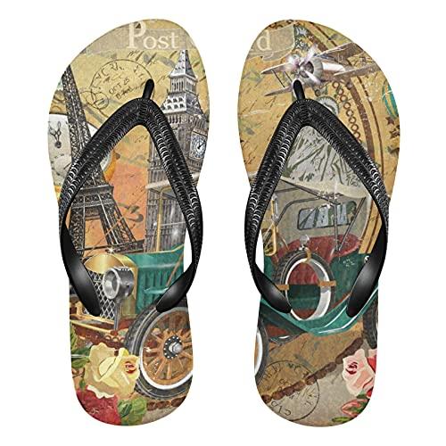Linomo Sandalias de playa para hombre, estilo vintage de París, americano, delgadas, para verano, para mujer y niño, multicolor, 42/43 EU