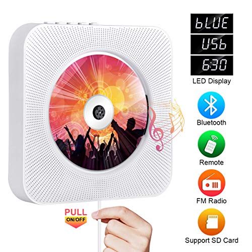 top rated Bluetooth compatible portable CD player, Qoosea wall-mounted CD player Music player Home audio … 2020