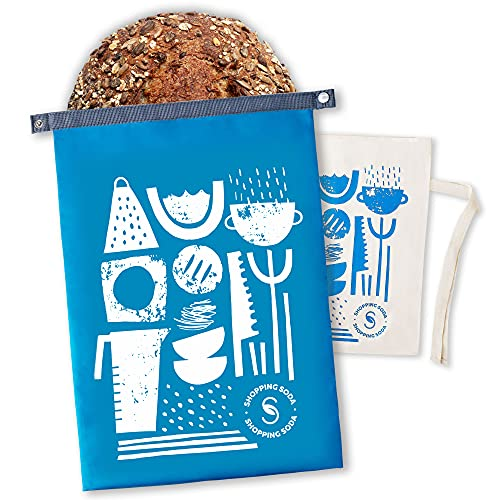 Reusable Bread Bags Zero Waste - 2 Bread Storage Containers For Homemade Bread Loaf, Premium Cotton Organic Bread Bag For Homemade Bread Large, Stylish Freezer Bag, Bread Box Gift For Bread Maker