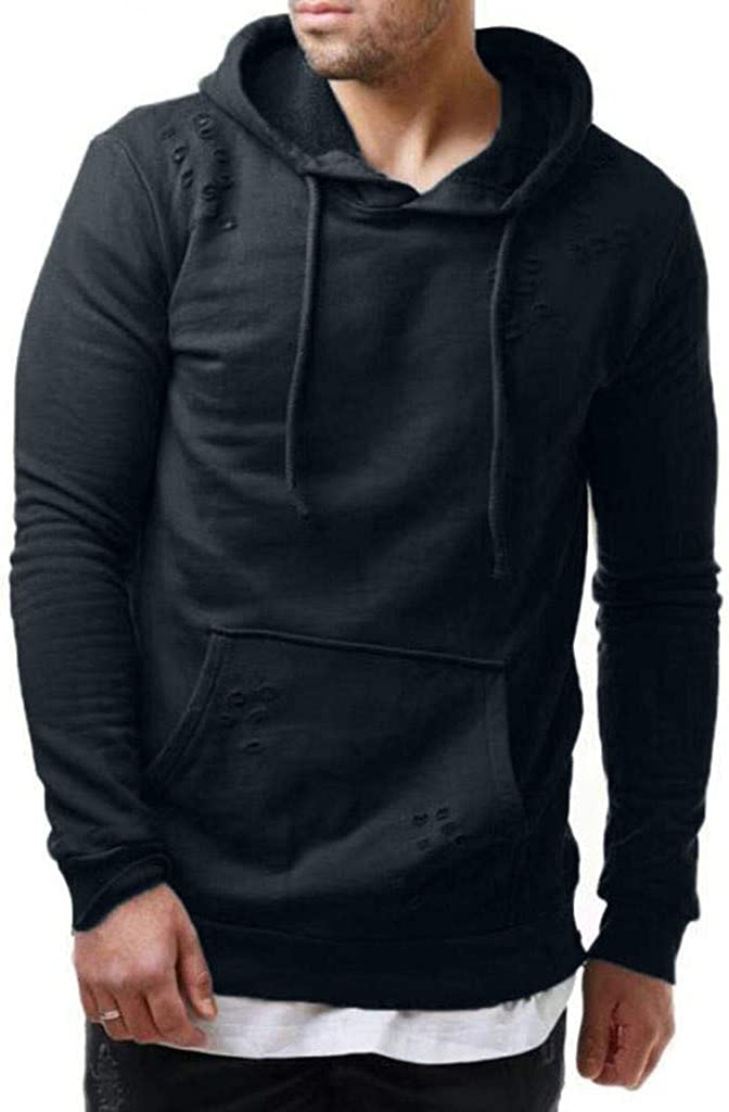 Hoodies for Men Big and Tall Autumn Winter Casual Long Sleeeve Solid Warm Pullover Hooded Sweatshirt Outwear Jacket Coat