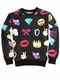Uhomedecor Unisex 3D Emoji Joggers Sweatshirts Sportswear Black L