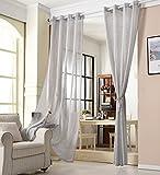 WOLTU Cortina con Ojales Transparente Aspecto para Ventana Cortina Decorativo para Salón Habitación Infantil Dormitorio 140x245 cm, Gris Claro(1 Pieza) VH5861hgr