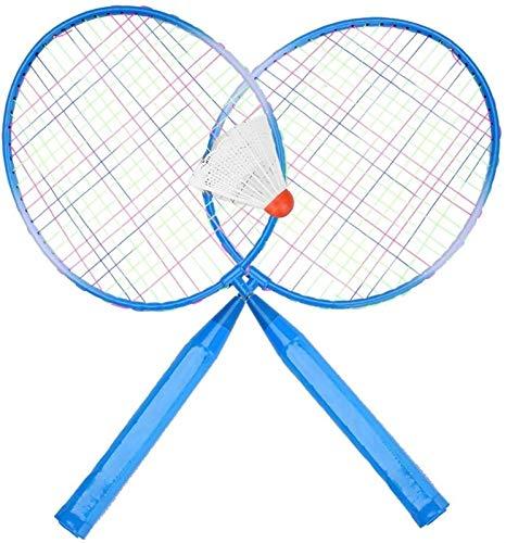 RENFEIYUAN Conjunto de Raquetas de bádminton, Durable de Nylon aleación bádminton Raqueta Raqueta para niños niños Entrenamiento práctica Edad 3+ (Azul) Badminton Raqueta