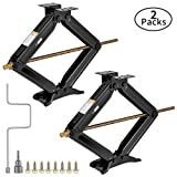 VIVOHOME Heavy Duty 4.5 Ton Capacity Steel Scissor Jacks Leveling Lift Stabilizer with Hand Crank for Truck SUV Sedan Coupe Vehicle Set of 2