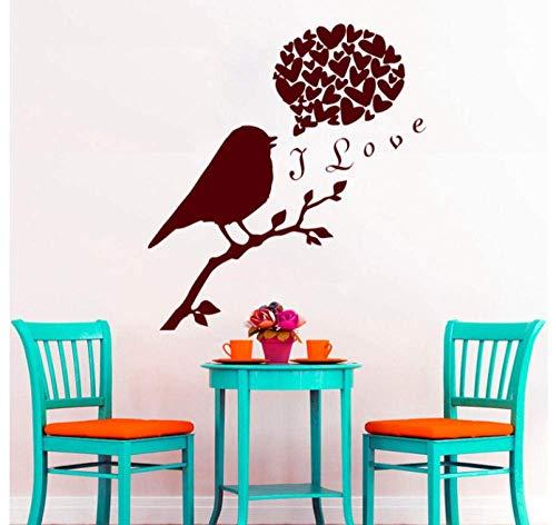 Lindos Pájaros En Las Ramas Con I Love Quotes Para Decoración Del Hogar Calcomanías De Pared Y Calcomanías De Pared De Corazón Papel Tapiz De Vinilo 49X44Cm