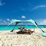 Tenda da spiaggia pop-up, tenda da spiaggia per la famiglia, parasole portatile UPF50+ con borsa per il trasporto, per campeggio, viaggi, pesca, cortile, picnic (blu, 30 x 25 m, 4 poli)