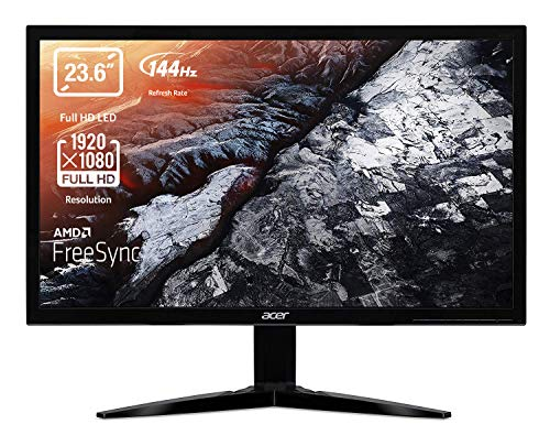 Acer KG241QPbiip Monitor Gaming FreeSync da 23,6, Display Full HD (1920x1080), Frequenza 144Hz, Formato 16:9,Luminosità 300 cd/m2, Tempo di Risposta 1ms (G2G), HDMI(2.0), DP(1.2), Nero