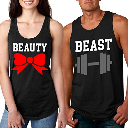 Her Beauty and His Beast Couples Tank Top Set (Her Med - His 3X) Black