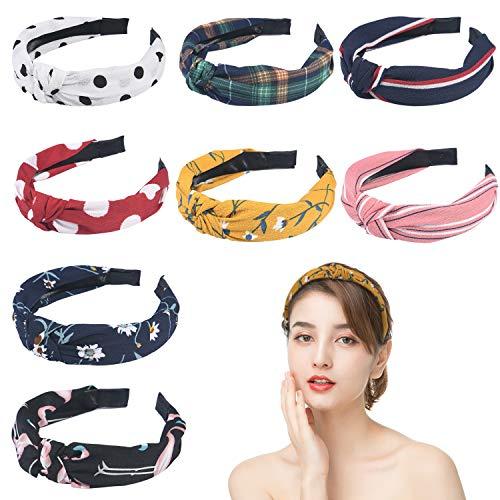 URAQT Haarreif Vintage, 8 Stück Damen Haarband Yoga Headband Breit Haarband Retro Stirnband Haarreifen Stoff für Frauen Mädchen Kostüm