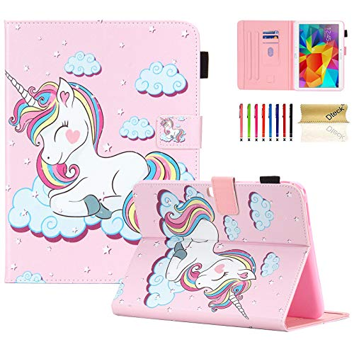 T530 Case, Galaxy Tab 4 10.1 Case, Dteck PU Leather Folio Multi-Angle Adjustable Stand Auto Wake/Sleep Smart Wallet Case for Samsung Galaxy Tab 4 10.1 SM-T530NU T531 T535 Tablet, Pink Unicorn