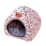 thematys Colchoneta Material de Felpa Cama de Almohada Lavable y Resistente a los arañazos para Perros y Gatos (S, rosa1)