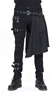 Men Trouers with Kilt Holes Gothic Detachable Slim Casual Pants