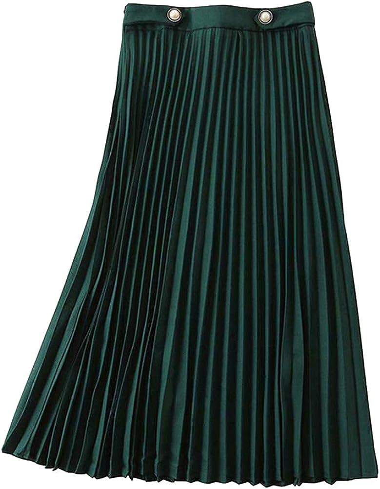 CHIC&TNK Summer Green Pleated Skirts Pearls Button Ladies High Waist Elegant Streetwear