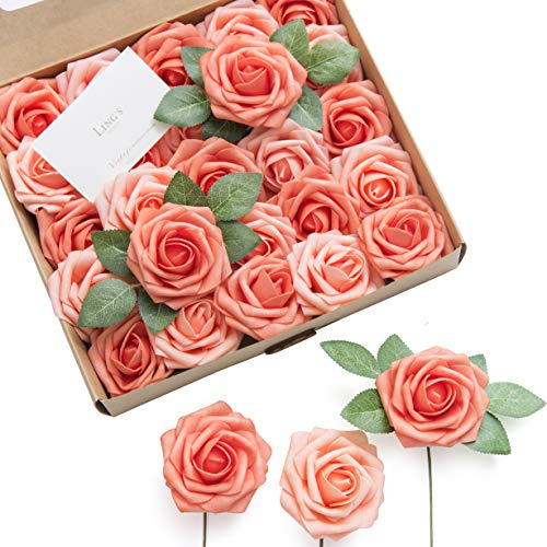 Ling's moment Artificial Flowers Mixed Living Coral Roses 25pcs Real...