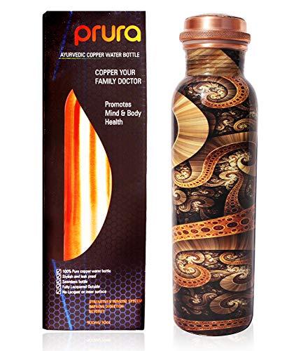 PRURA, ayurvedische Kupfer-Wasserflasche, auslaufsicheres naturreines Kupfergefäß 900ml/30oz Design 11