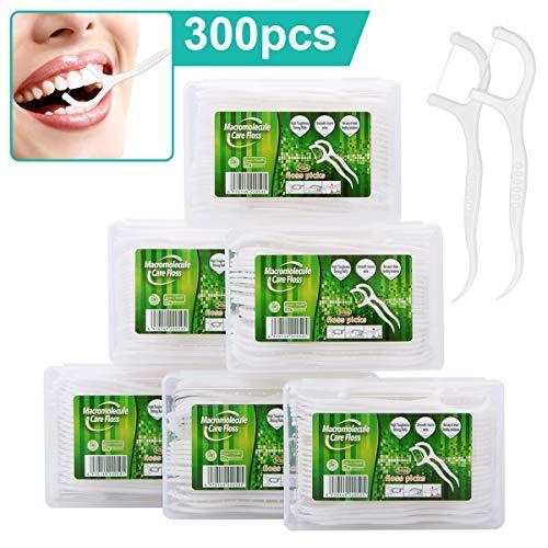 Zahnseide Dental Floss 300 Stück Zahnseide Stick mit Zahnstocher Halter, Zahn Draht/Zahnpflege Interdental Flossers mit Y-Form Design, Disposable Zahnseidensticks/Zahnreiniger Sticks