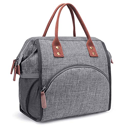 Idebris Lunchpakket, lunchpakket met dubbele dekking, grote boodschappentas, lunchorganizer voor dames, heren, outdoor, werk (lunchpakket, grijs)