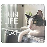 Galaxy A41 SC-41A ケース [デザイン:11.くつろぐ白黒猫/マグネットハンドあり] 猫 ネコ ねこ ギャラクシーa41 sc41a 手帳型 スマホケース スマホカバー 手帳 携帯 カバー