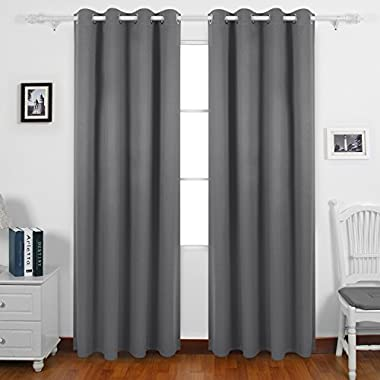Deconovo Blackout Curtains Pair Grommet Curtains with Backside Silver for Baby Bedroom 52W x 95L Inch Light Grey 2 Panels