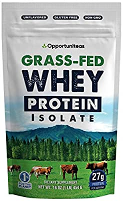 Grass Fed Whey Protein Powder Isolate - Unflavored + Cold Processed + Undenatured - Pure Wisconsin Grassfed Protein for A Shake, Smoothie, Drink, or Food - Natural + Non GMO + No Gluten