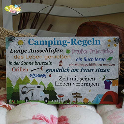 Shabby Style Holzschild - Camping-Regeln (Wohnmobil) ~ Camping - Wohnwagen - Zelt ~ Weihnachten ~ Geschenk