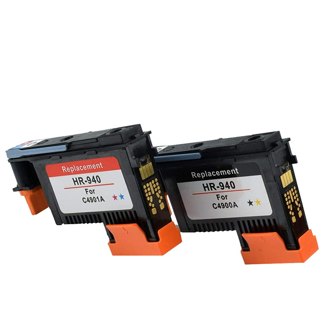 Tonertop 2 Pack for 940 Black/Yellow & Cyan/Magenta Printhead Remanufactured C4900A C4901A with The Newest Chip for Officejet Pro 8000, 8500, 8500A, 8500A Plus, 8500A Premium