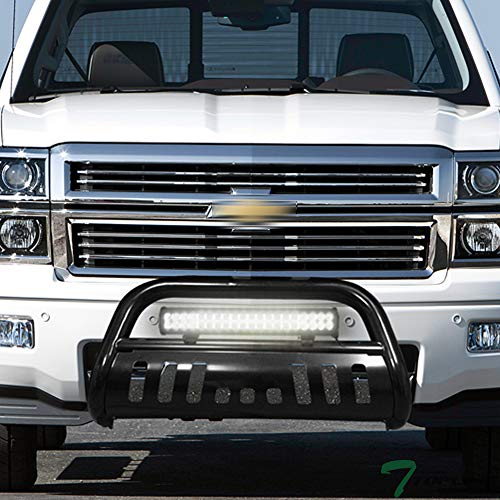 Topline Autopart Black Bull Bar Brush Push Bumper Grill Grille Guard With Skid Plate + 120W CREE LED Fog Light For 07-18 Chevy Silverado Tahoe Suburban Avalanche/GMC Sierra Yukon XL 1500