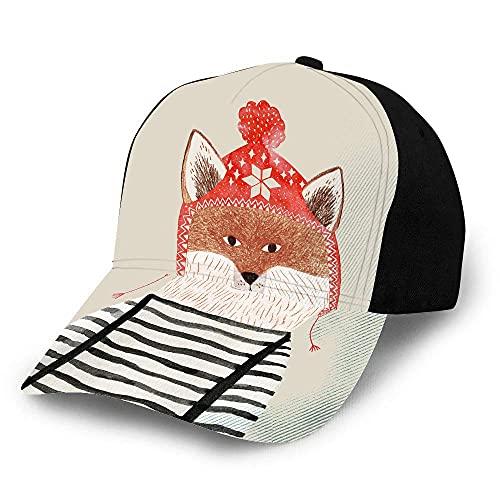Fuchs-Hut, Baseball-Kappe für Herren und Damen, Winter-Mütze, Bleistift, Aquarell, niedliches Tierportrait, lustig, gestreifte Kleidung, Baseball-Hut, Unisex, verstellbare Hüte, schwarz
