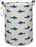 FANKANG Storage Bins, Nursery Hamper Canvas Laundry Basket Foldable with Waterproof PE Coating Large Storage Baskets for Kids Boys and Girls, Office, Bedroom, Clothes,Toys (Shark)