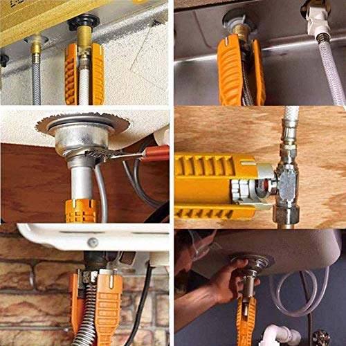 Faucet Wrench Tool With 8 In 1 Sink Basin Multifunctional Water Pipe Spanner Sink Installer Tool for Toilet Bowl/Sink/Bathroom/Kitchen Plumbing and more(Yellow)