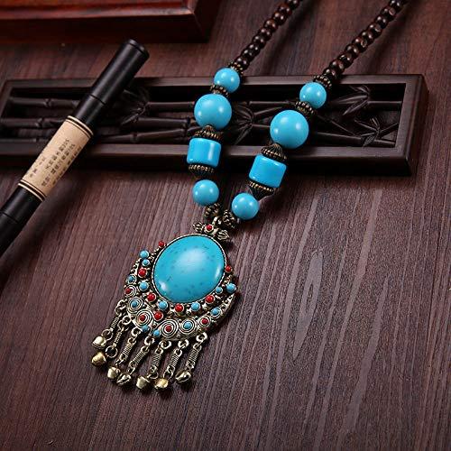 THTHT Vintage halsketting etnische stijl vrouwen stijl houten kralen ronde blauwe bel kwast mode persoonlijkheid Boheemse hanger parel snaren accessoires handgemaakte parels