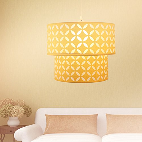 OYGROUP Yellow Lampshade with E26 or E27 Bulb Base PVC Iron Frame Double Shade (Only Lampshade)