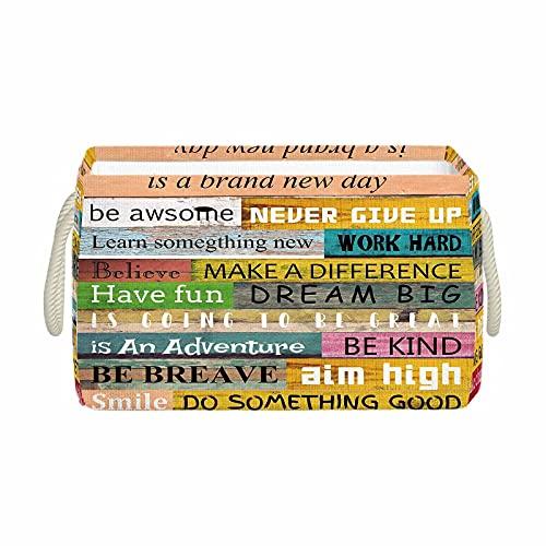 QQIAEJIA Cesta de almacenaje Colored Wooden Planks Foldable Inspirational Quotes Today is a Day Work Hard Have Fun Words Collapsible Imitation Linen Cesta de almacenamientowith 2 Handles