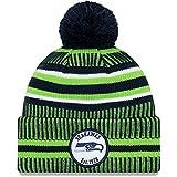 New Era Men's Navy/Neon Green Seattle Seahawks 2019 NFL Sideline Home Official Sport Knit Hat
