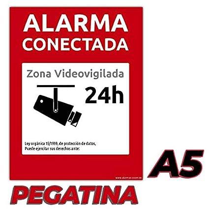 Carteles Alarma conectada disuasorio Zona vigilada 24h Color Rojo 24 Horas videovigilada vigilada disuasorios Pegatina, A5 Varios tama/ños disponibles y tipos de carteles r/ígidos o pegatinas
